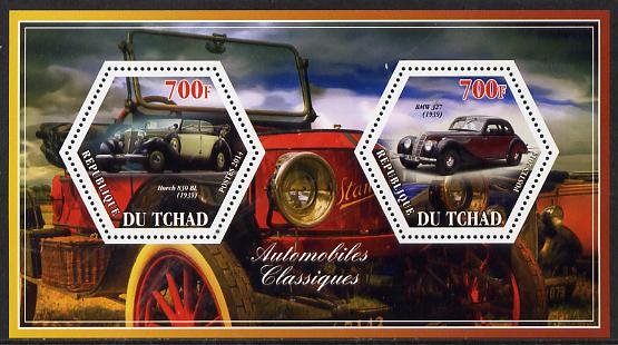 Chad 2014 Classic Cars #3 perf sheetlet containing two hexagonal-shaped values unmounted mint