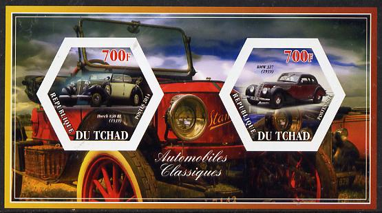 Chad 2014 Classic Cars #3 imperf sheetlet containing two hexagonal-shaped values unmounted mint