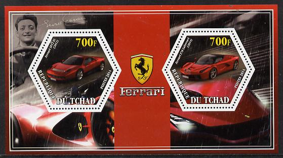 Chad 2014 Ferrari Cars #1 perf sheetlet containing two hexagonal-shaped values unmounted mint