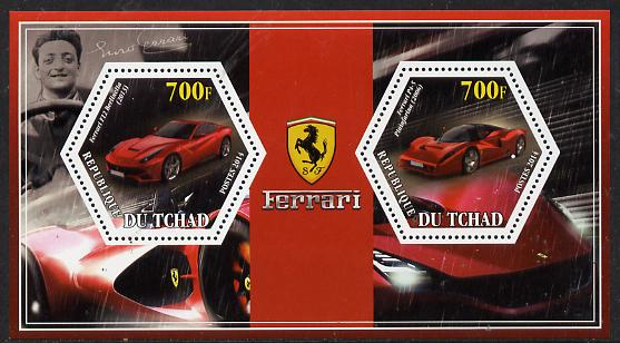 Chad 2014 Ferrari Cars #2 perf sheetlet containing two hexagonal-shaped values unmounted mint