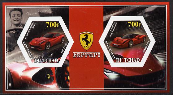 Chad 2014 Ferrari Cars #2 imperf sheetlet containing two hexagonal-shaped values unmounted mint