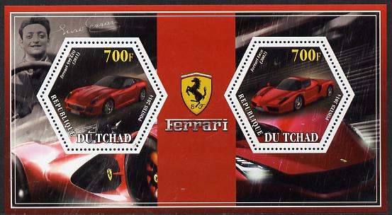 Chad 2014 Ferrari Cars #3 perf sheetlet containing two hexagonal-shaped values unmounted mint