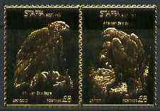 Staffa 1976 American Bald Eagle (Male & Female) \A38 + \A38 se-tenant pair perforated & embossed in 23 carat gold foil unmounted mint