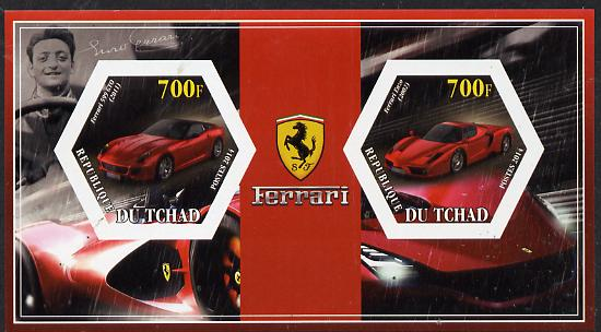 Chad 2014 Ferrari Cars #3 imperf sheetlet containing two hexagonal-shaped values unmounted mint
