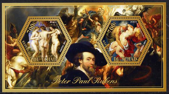 Chad 2014 Peter Paul Rubens #1 perf sheetlet containing two hexagonal-shaped values unmounted mint