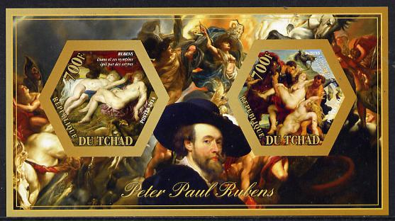 Chad 2014 Peter Paul Rubens #2 imperf sheetlet containing two hexagonal-shaped values unmounted mint