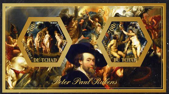 Chad 2014 Peter Paul Rubens #3 imperf sheetlet containing two hexagonal-shaped values unmounted mint