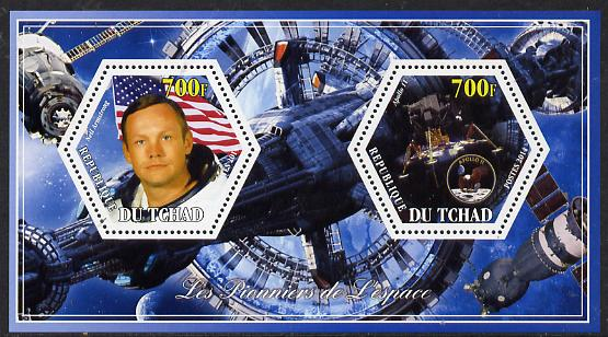 Chad 2014 Conquest of Space #2 perf sheetlet containing two hexagonal-shaped values unmounted mint