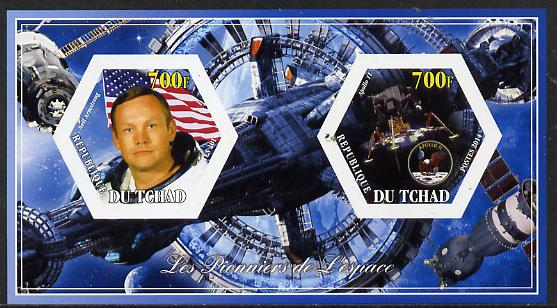 Chad 2014 Conquest of Space #2 imperf sheetlet containing two hexagonal-shaped values unmounted mint