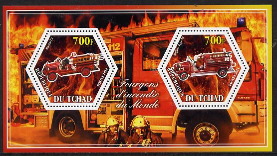 Chad 2014 Fire Engines #1 perf sheetlet containing two hexagonal-shaped values unmounted mint
