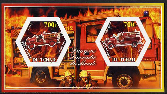 Chad 2014 Fire Engines #1 imperf sheetlet containing two hexagonal-shaped values unmounted mint