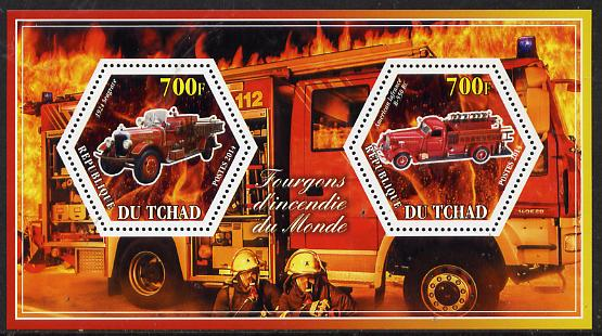 Chad 2014 Fire Engines #2 perf sheetlet containing two hexagonal-shaped values unmounted mint