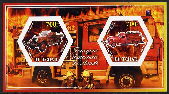 Chad 2014 Fire Engines #2 imperf sheetlet containing two hexagonal-shaped values unmounted mint