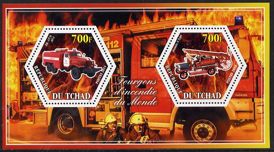 Chad 2014 Fire Engines #3 perf sheetlet containing two hexagonal-shaped values unmounted mint
