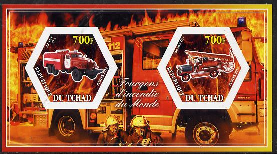 Chad 2014 Fire Engines #3 imperf sheetlet containing two hexagonal-shaped values unmounted mint
