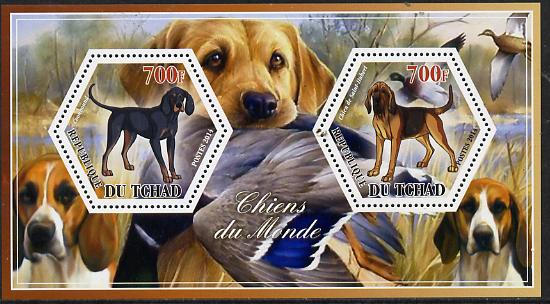 Chad 2014 Dogs #1 perf sheetlet containing two hexagonal-shaped values unmounted mint
