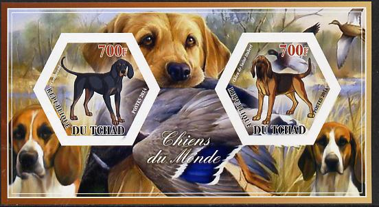 Chad 2014 Dogs #1 imperf sheetlet containing two hexagonal-shaped values unmounted mint