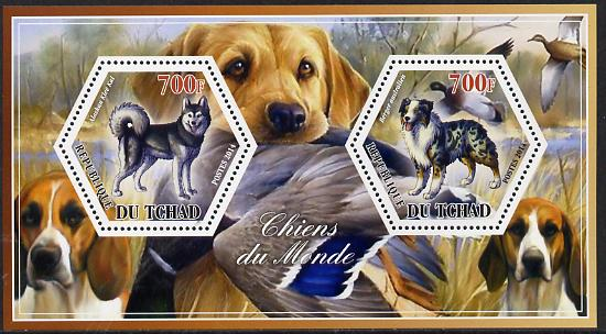 Chad 2014 Dogs #3 perf sheetlet containing two hexagonal-shaped values unmounted mint