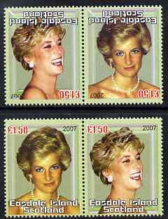 Easdale 2007 Princess Diana \A31.50 #4 perf se-tenant pair with images transposed and Country, value & date inverted (normal shown here for comparison but is not included) unmounted mint