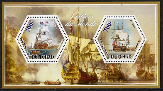 Chad 2014 Sailing Ships #3 perf sheetlet containing two hexagonal-shaped values unmounted mint