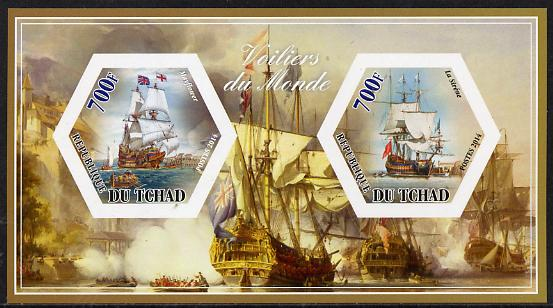 Chad 2014 Sailing Ships #3 imperf sheetlet containing two hexagonal-shaped values unmounted mint