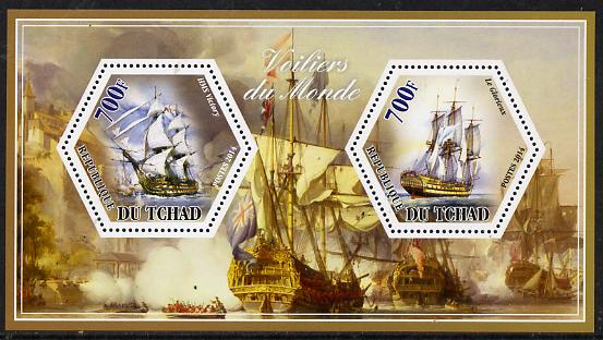 Chad 2014 Sailing Ships #4 perf sheetlet containing two hexagonal-shaped values unmounted mint