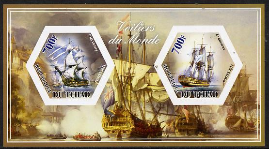 Chad 2014 Sailing Ships #4 imperf sheetlet containing two hexagonal-shaped values unmounted mint