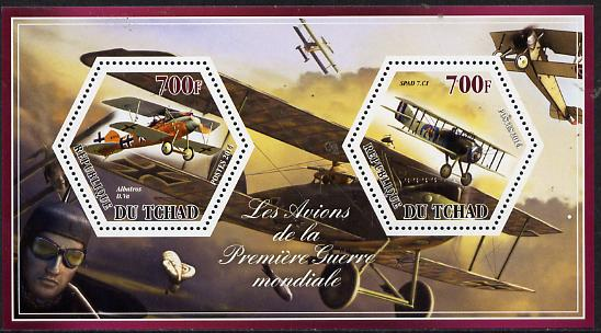 Chad 2014 Aircraft of World War 1 #1 perf sheetlet containing two hexagonal-shaped values unmounted mint