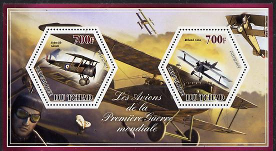 Chad 2014 Aircraft of World War 1 #2 perf sheetlet containing two hexagonal-shaped values unmounted mint