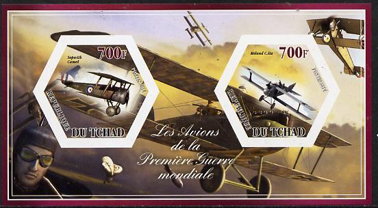 Chad 2014 Aircraft of World War 1 #2 imperf sheetlet containing two hexagonal-shaped values unmounted mint