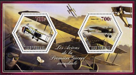 Chad 2014 Aircraft of World War 1 #3 perf sheetlet containing two hexagonal-shaped values unmounted mint