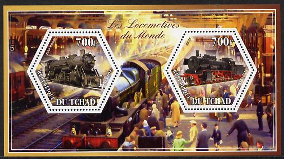 Chad 2014 Steam Locomotives of the World #1 perf sheetlet containing two hexagonal-shaped values unmounted mint