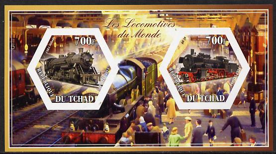 Chad 2014 Steam Locomotives of the World #1 imperf sheetlet containing two hexagonal-shaped values unmounted mint