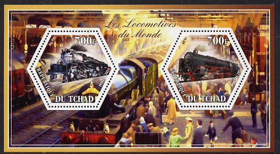 Chad 2014 Steam Locomotives of the World #2 perf sheetlet containing two hexagonal-shaped values unmounted mint