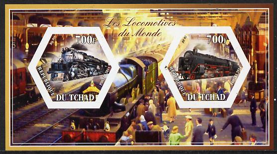 Chad 2014 Steam Locomotives of the World #2 imperf sheetlet containing two hexagonal-shaped values unmounted mint