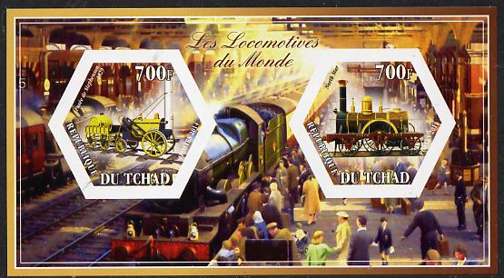Chad 2014 Steam Locomotives of the World #3 imperf sheetlet containing two hexagonal-shaped values unmounted mint