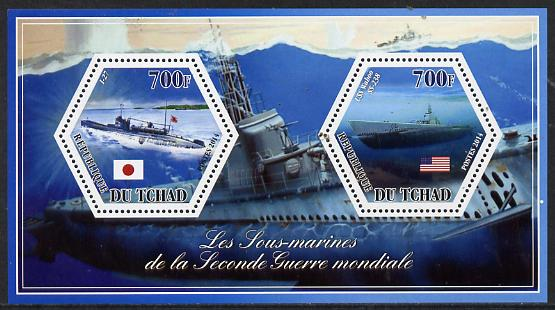 Chad 2014 Submarines #3 perf sheetlet containing two hexagonal-shaped values unmounted mint