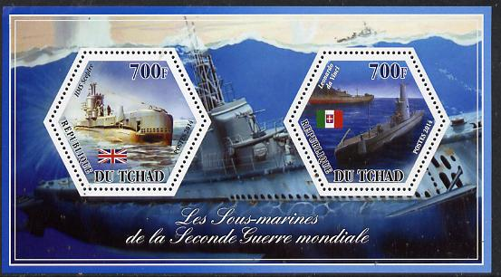 Chad 2014 Submarines #4 perf sheetlet containing two hexagonal-shaped values unmounted mint