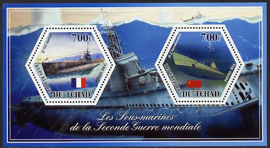 Chad 2014 Submarines #5 perf sheetlet containing two hexagonal-shaped values unmounted mint , stamps on shaped, stamps on hexagon, stamps on hexagonal, stamps on ships.submarines