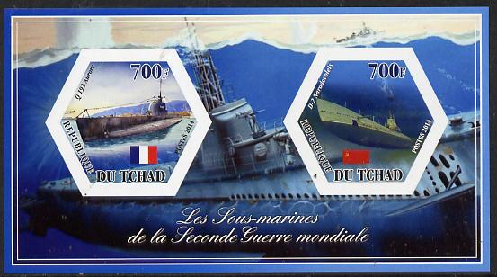 Chad 2014 Submarines #5 imperf sheetlet containing two hexagonal-shaped values unmounted mint