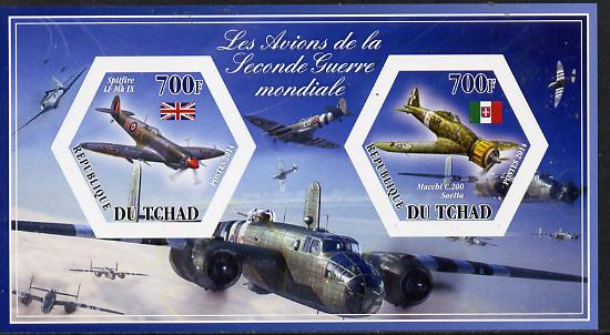 Chad 2014 Aircraft of World War 2 #2 imperf sheetlet containing two hexagonal-shaped values unmounted mint