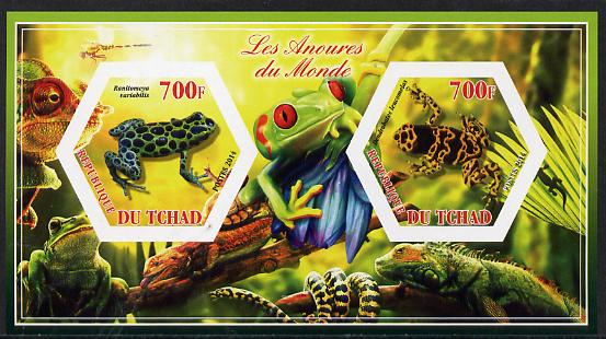 Chad 2014 Frogs & Toads #1 imperf sheetlet containing two hexagonal-shaped values unmounted mint