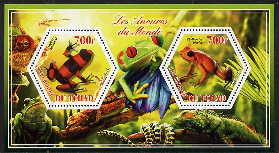 Chad 2014 Frogs & Toads #2 perf sheetlet containing two hexagonal-shaped values unmounted mint