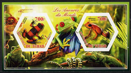 Chad 2014 Frogs & Toads #2 imperf sheetlet containing two hexagonal-shaped values unmounted mint