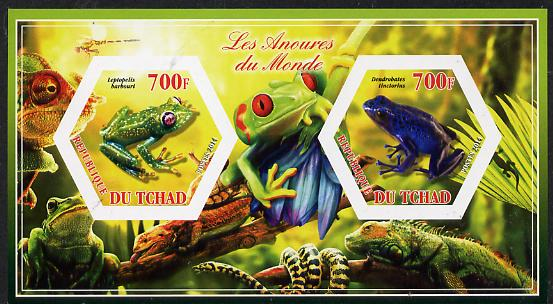 Chad 2014 Frogs & Toads #3 imperf sheetlet containing two hexagonal-shaped values unmounted mint