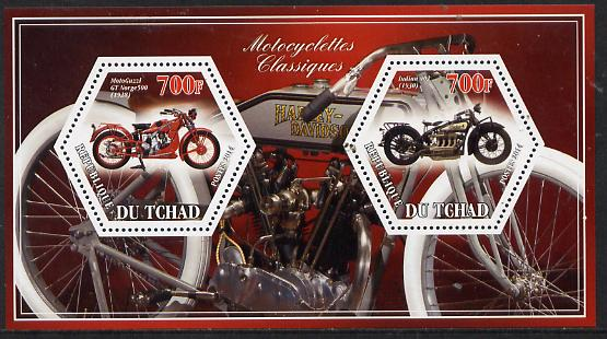 Chad 2014 Motorcycles #1 perf sheetlet containing two hexagonal-shaped values unmounted mint