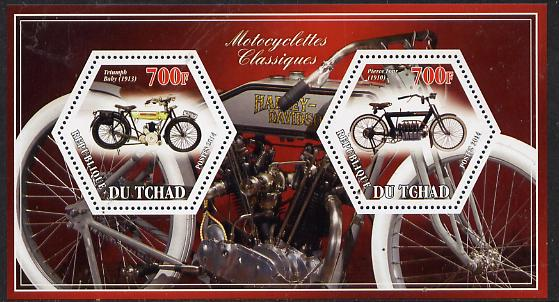 Chad 2014 Motorcycles #2 perf sheetlet containing two hexagonal-shaped values unmounted mint
