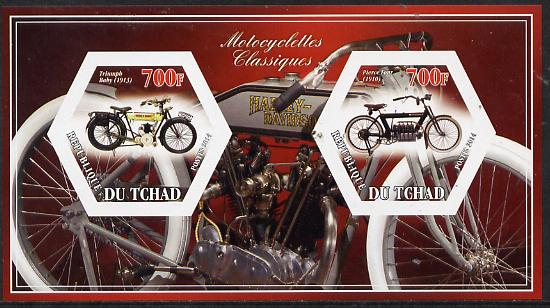 Chad 2014 Motorcycles #2 imperf sheetlet containing two hexagonal-shaped values unmounted mint