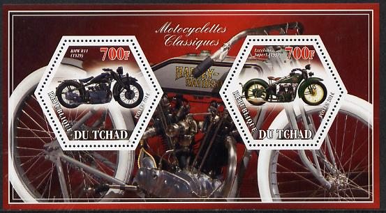 Chad 2014 Motorcycles #3 perf sheetlet containing two hexagonal-shaped values unmounted mint