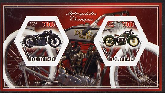 Chad 2014 Motorcycles #3 imperf sheetlet containing two hexagonal-shaped values unmounted mint